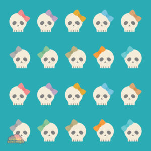 Cute Kawaii Halloween Skulls