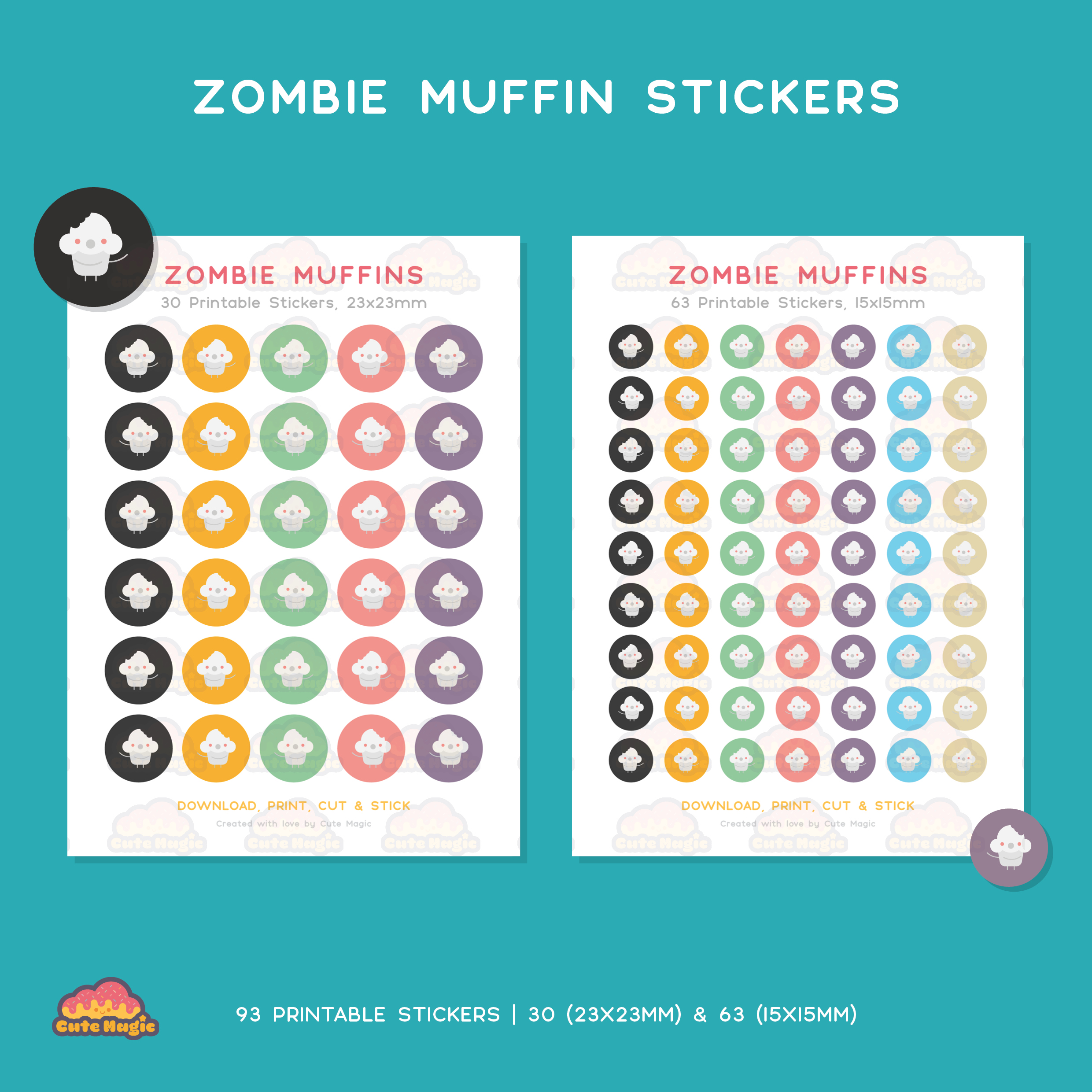 Zombie Muffins Printable Stickers