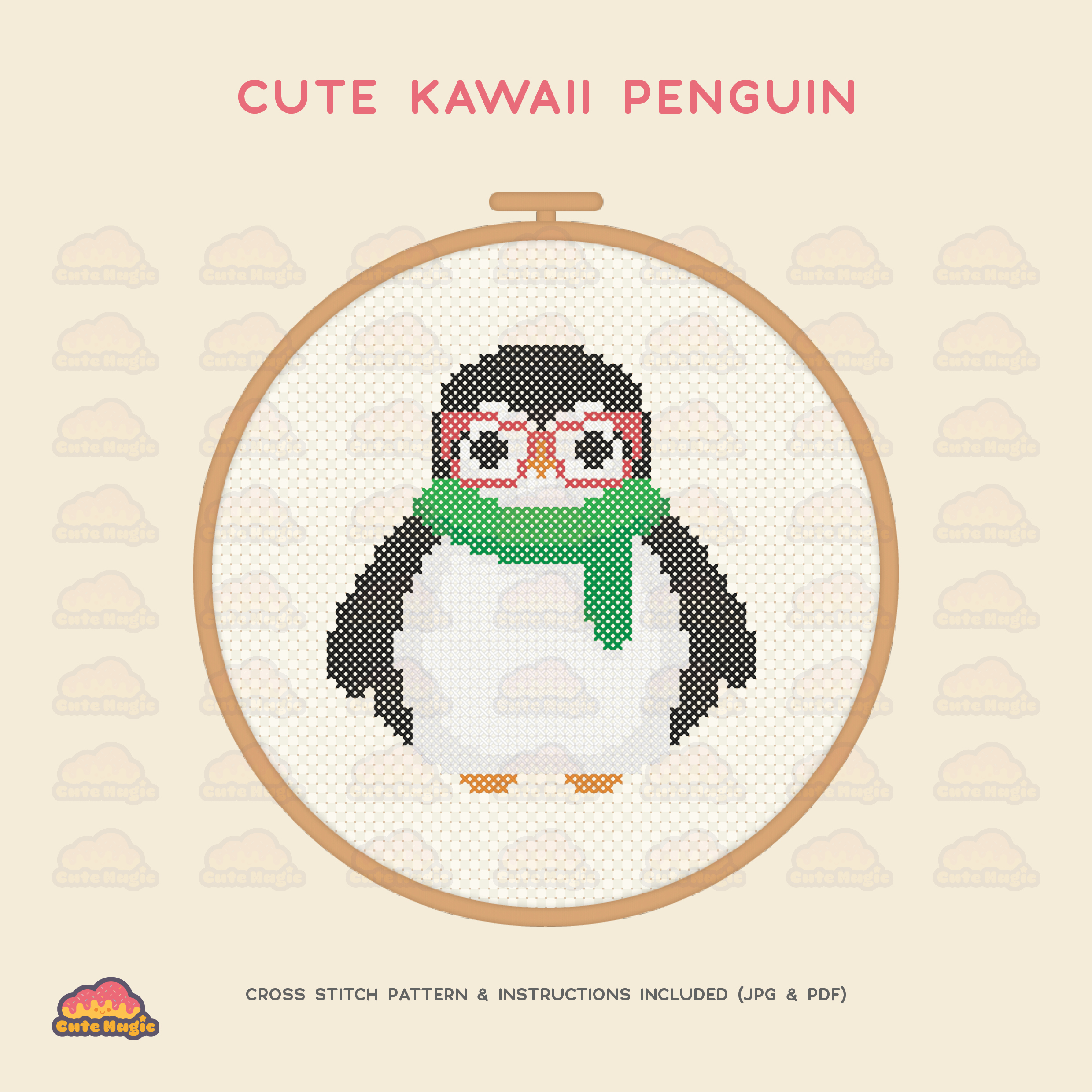 Cool Penguin Cross Stitch Preview