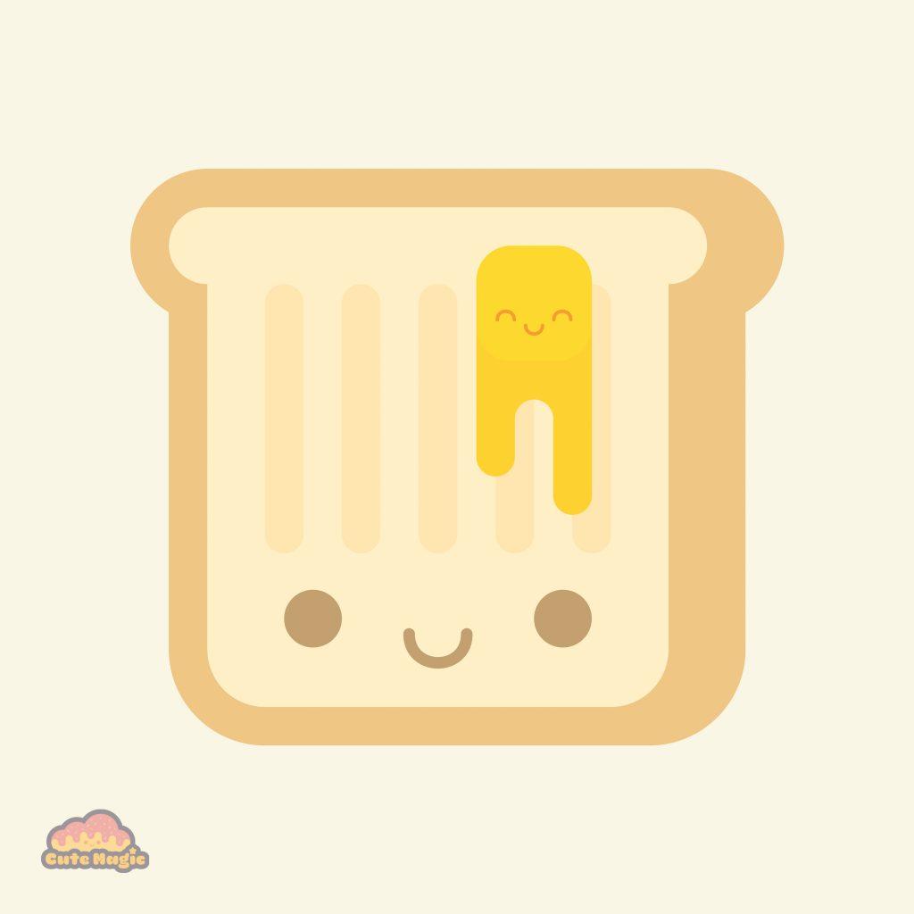 Cute Kawaii Toast Butter
