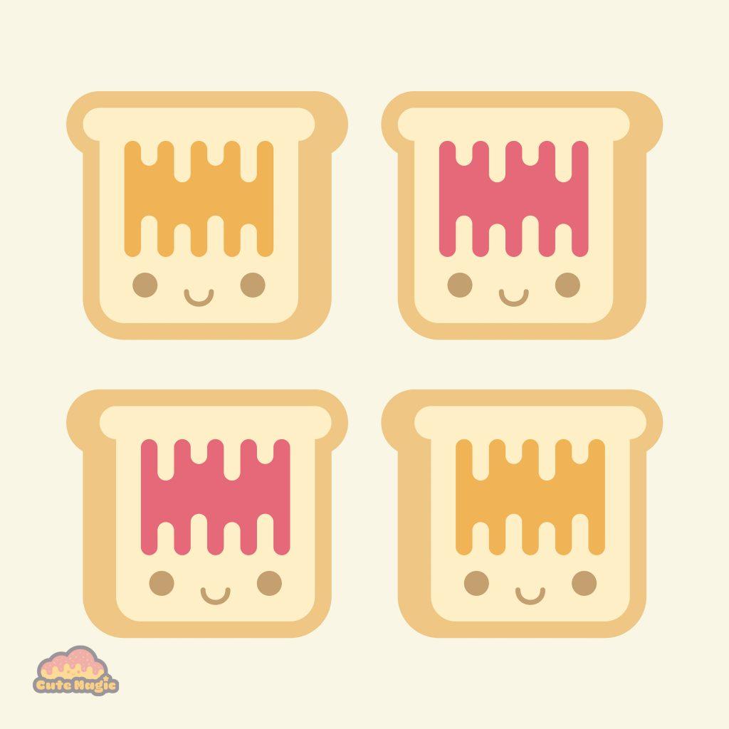 Cute Kawaii Toast Peanut Butter and Jelly