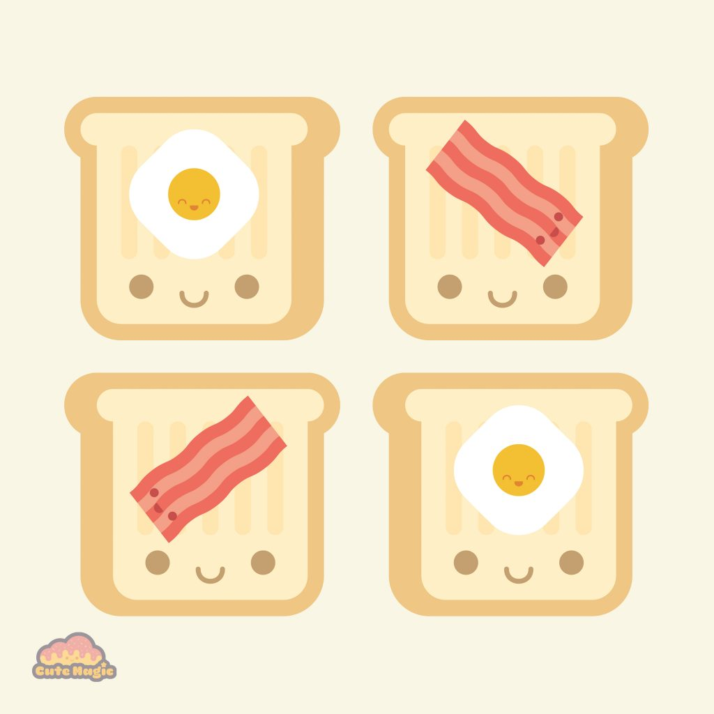 Cute Kawaii Toast Bacon and Eggs