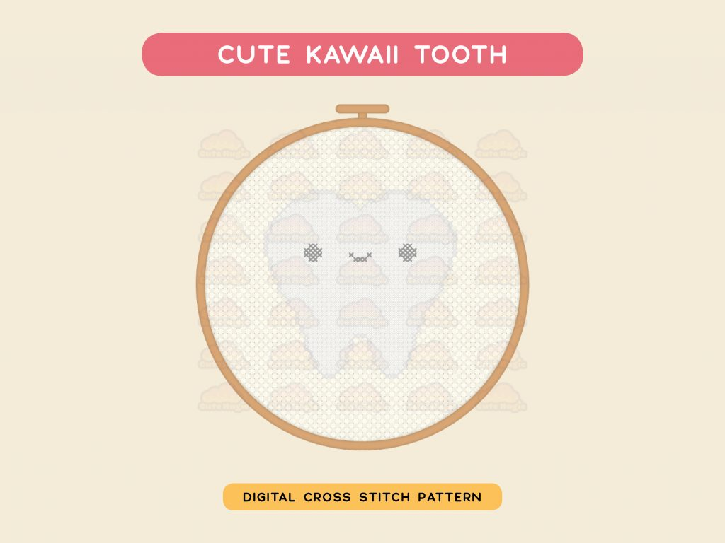 Cute Kawaii Teeth - Digital Cross Stitch Pattern