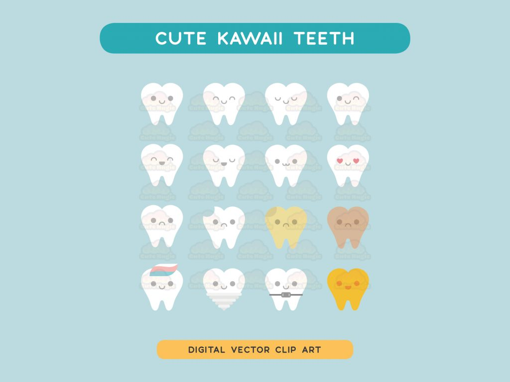 Cute Kawaii Teeth - Digital Vector Clip Art