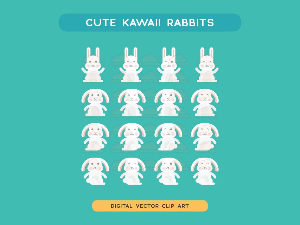Cute Kawaii Bunny Rabbits Vector Clip Art