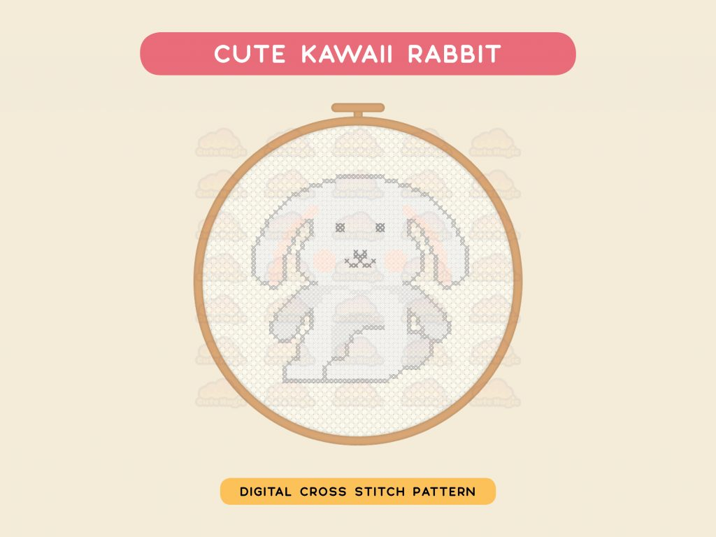 Cute Kawaii Bunny Rabbit Cross Stitch Pattern