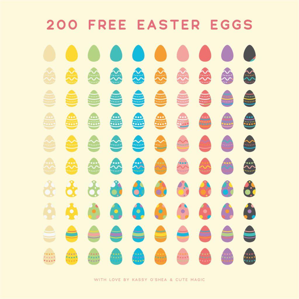 200 Free Digital Vector Easter Eggs