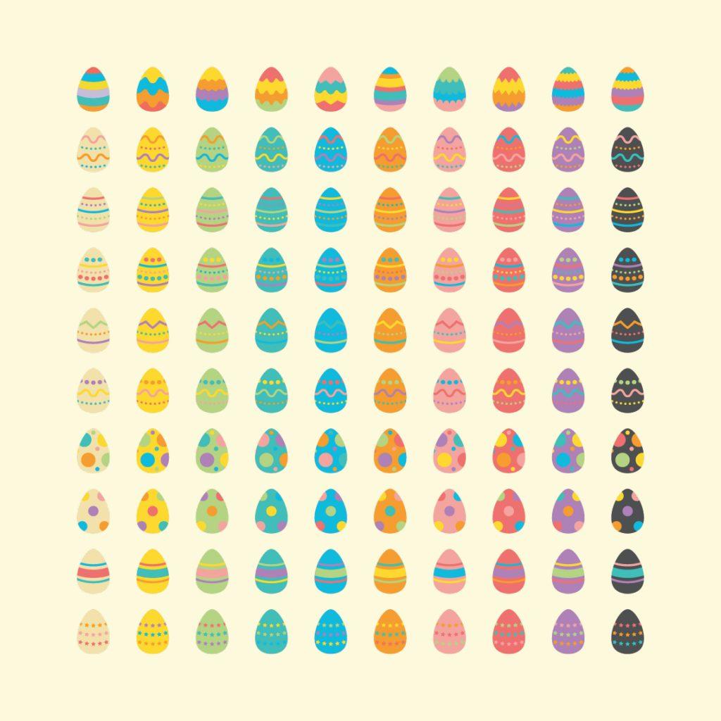 200 Free Digital Vector Easter Eggs: Preview of design 2