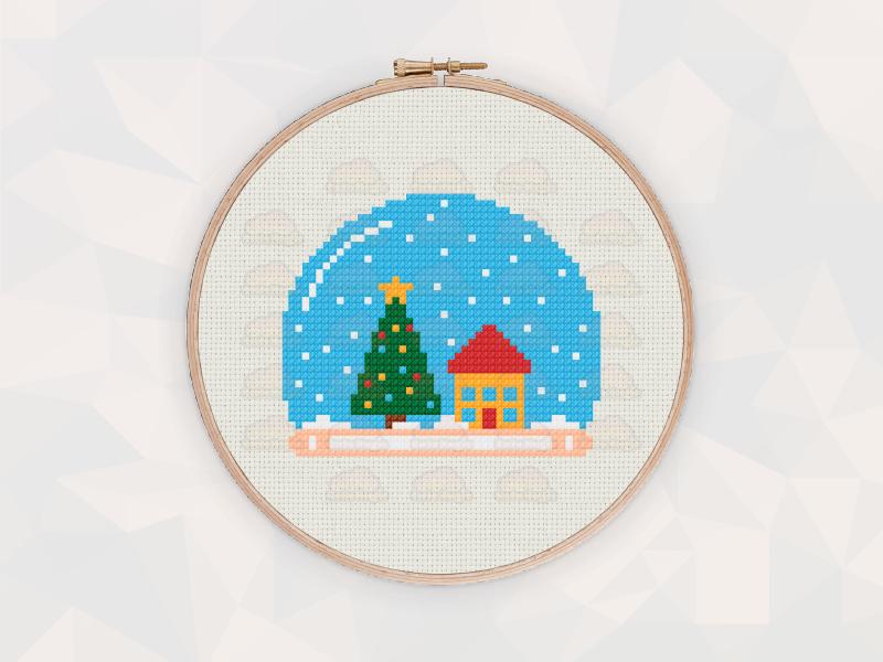 Christmas Cross Stitch Patterns: Christmas Snow Globe
