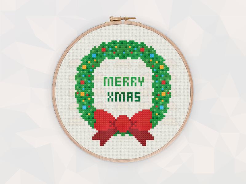 Christmas Cross Stitch Patterns: Christmas Wreath
