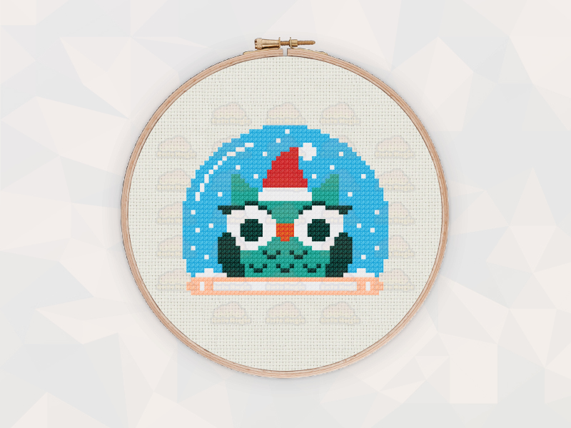 Christmas Cross Stitch Patterns: Christmas Owl Snow Globe