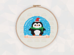 Christmas Cross Stitch Patterns: Christmas Penguin Snow Globe