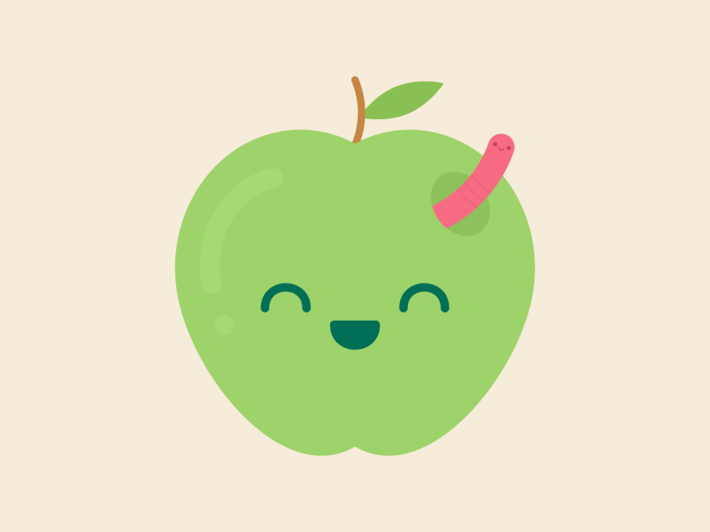 Cute Kawaii Apple & Worm