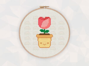 Cute Kawaii Rose Flower Digital Cross Stitch Pattern