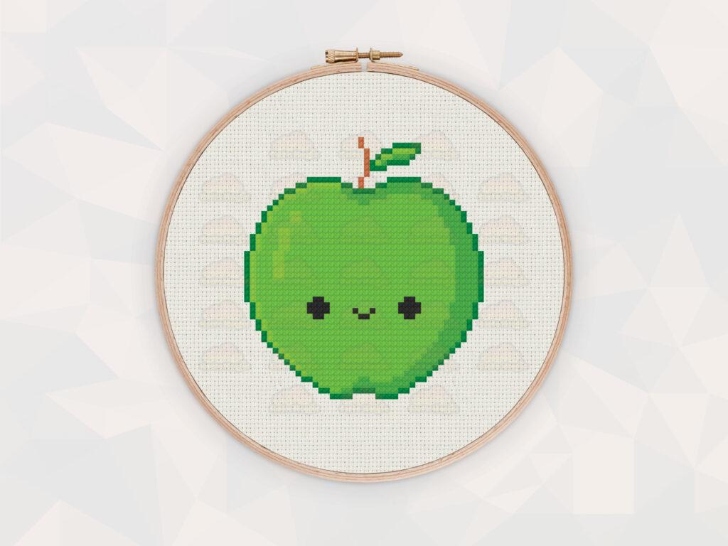 Cute Kawaii Red and Green Apple Digital Cross Stitch Pattern
