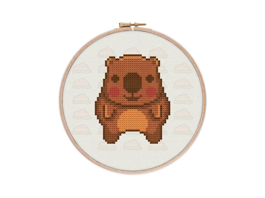 Cute Kawaii Wombat Digital Cross Stitch Pattern
