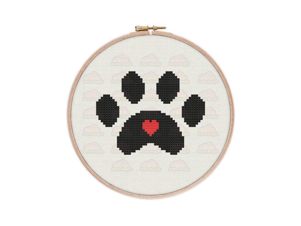 Paw Print Heart Digital Cross Stitch Pattern