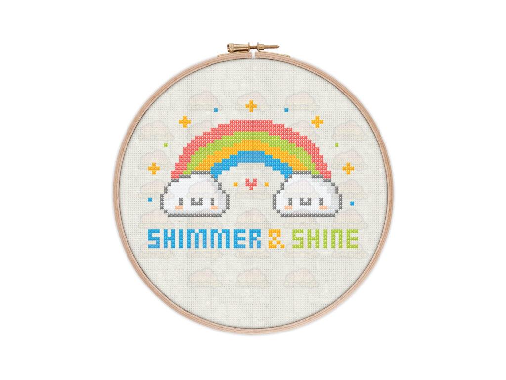 Cute Kawaii Rainbow Digital Cross Stitch Pattern