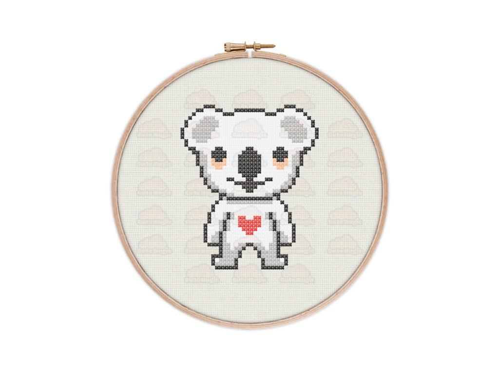 Cute Kawaii Koala Digital Cross Stitch Pattern