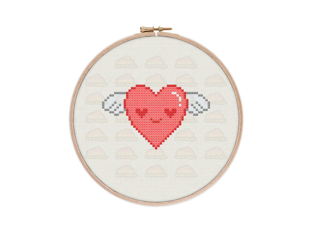 Cute Kawaii Flying Heart Cross Stitch Pattern