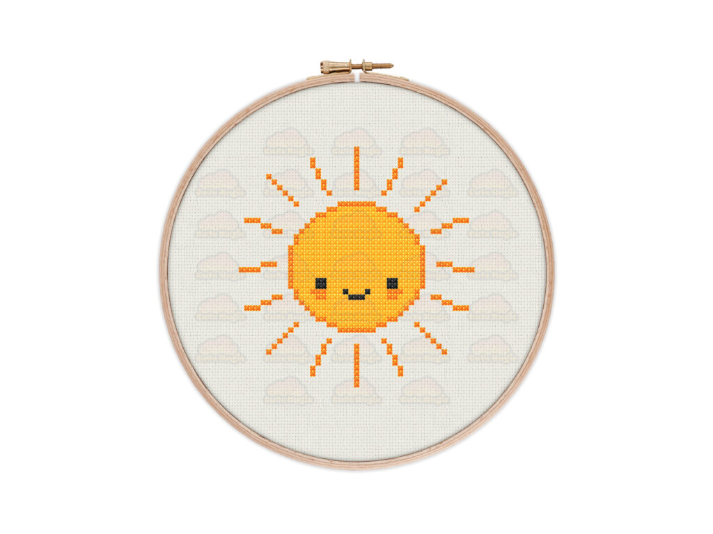 Cute Kawaii Sun Digital Cross Stitch Pattern