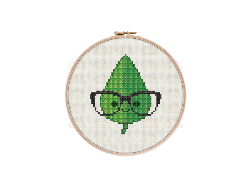 Cute Kawaii Nerd Geek Leaf Digital Cross Stitch Pattern