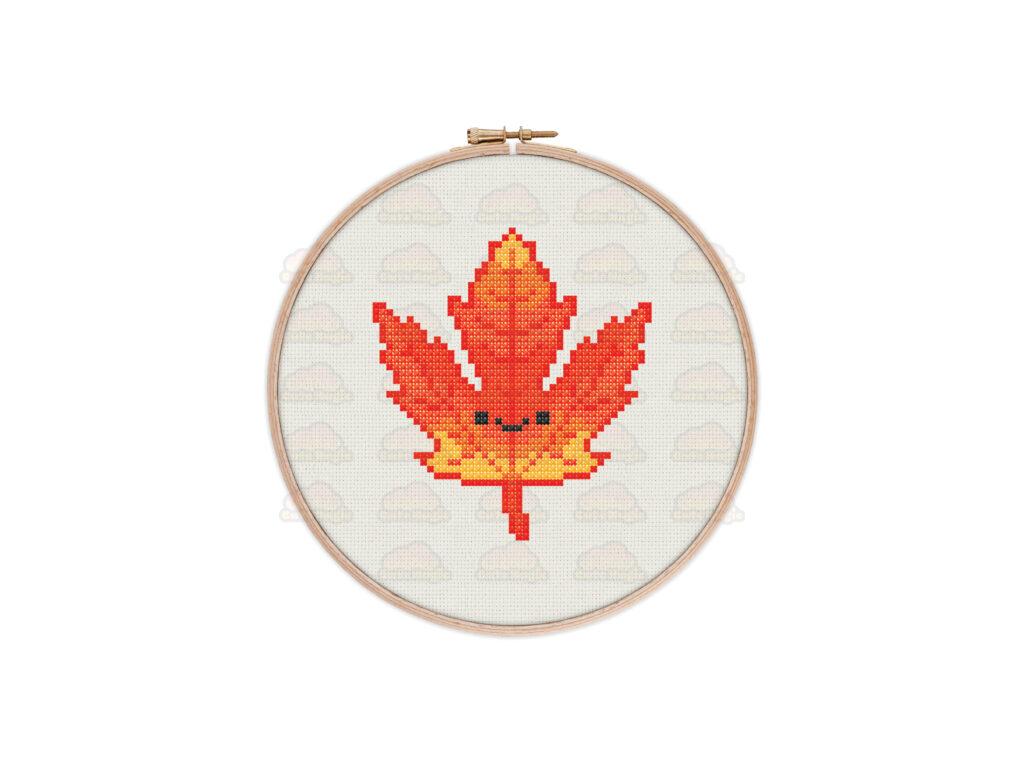 Cute Kawaii Autumn Leaf Digital Cross Stitch Pattern