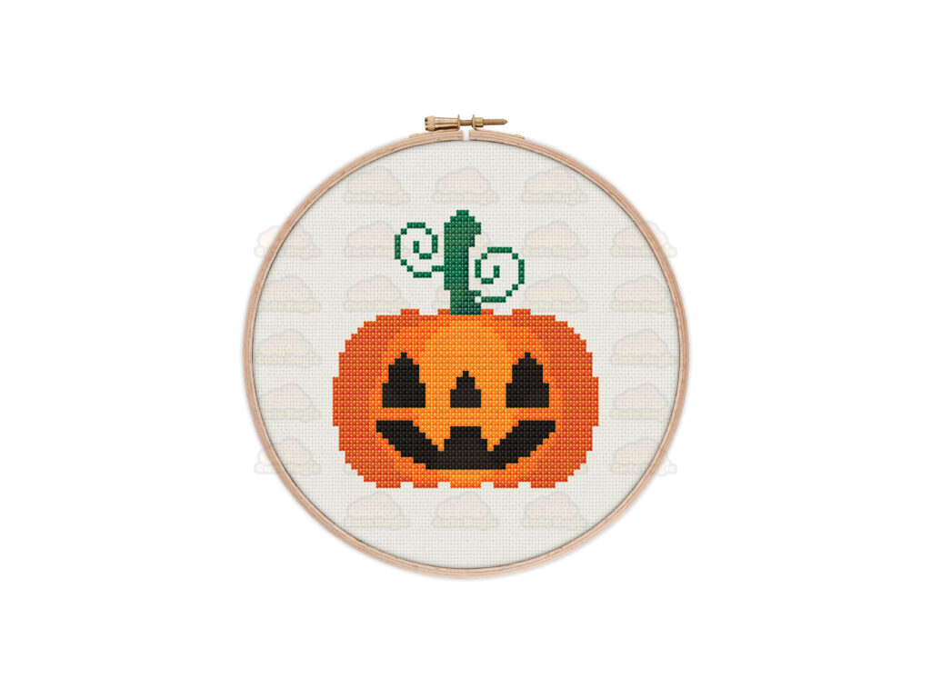 Jack O'Lantern Spooky Pumpkin Digital Cross Stitch Pattern