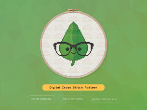 Free Cute Kawaii Leaf Cross Stitch Pattern