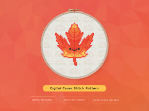 Cute Kawaii Autumn Leaf Digital Cross Stitch Pattern