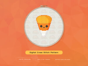 Cute Kawaii Halloween Candy Corn Digital Cross Stitch Pattern