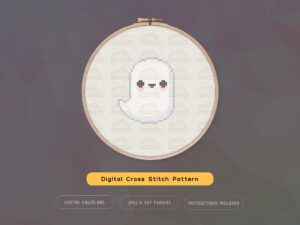 Free Cute Kawaii Ghost Cross Stitch Pattern