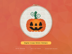 Jack O'Lantern Spooky Pumpkin Digital Cross Stitch Pattern