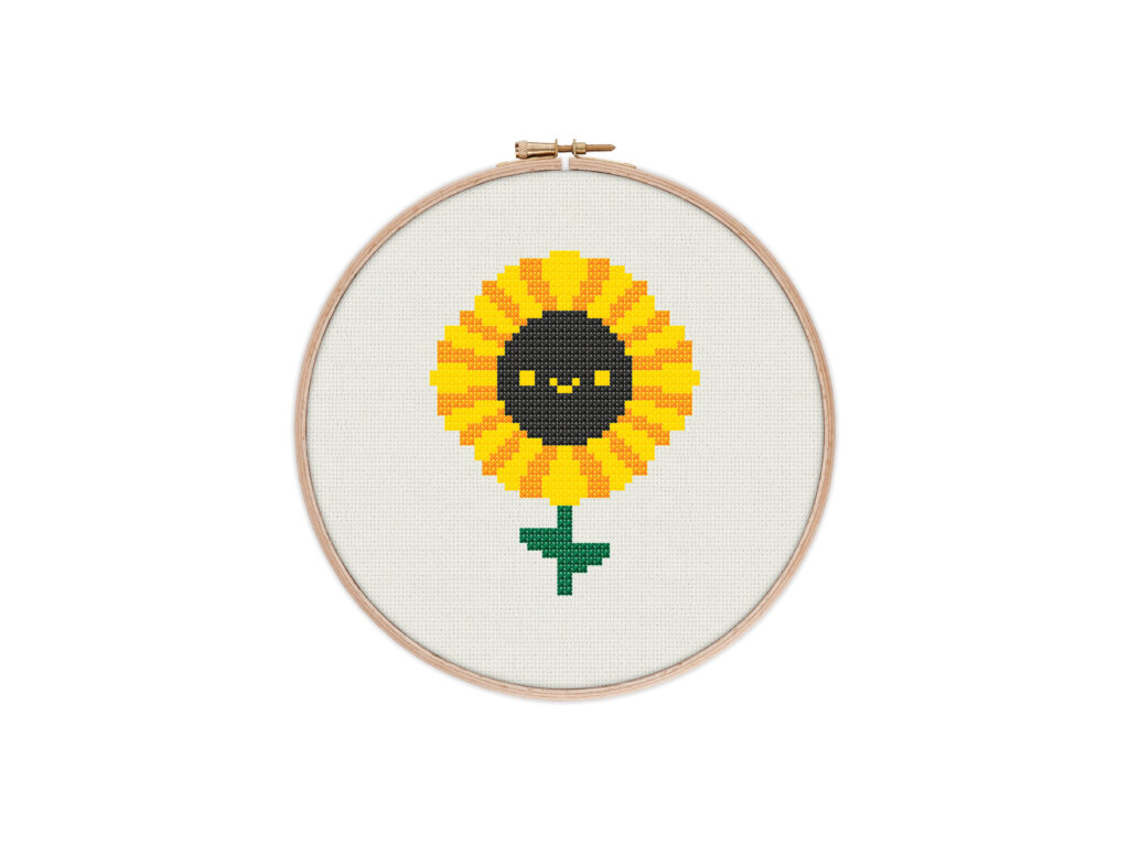 Cute Kawaii Sunflower Digital Cross Stitch Pattern