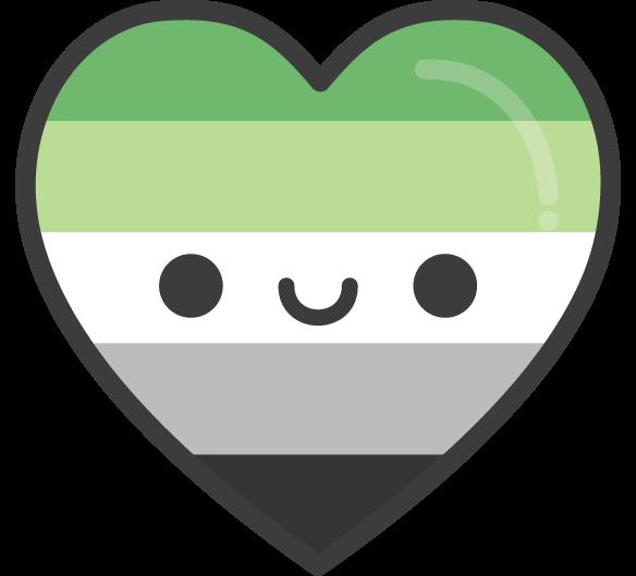 Cute Kawaii Aromantic Pride Heart