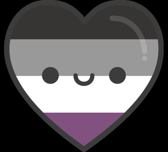 Cute Kawaii Asexual Pride Heart