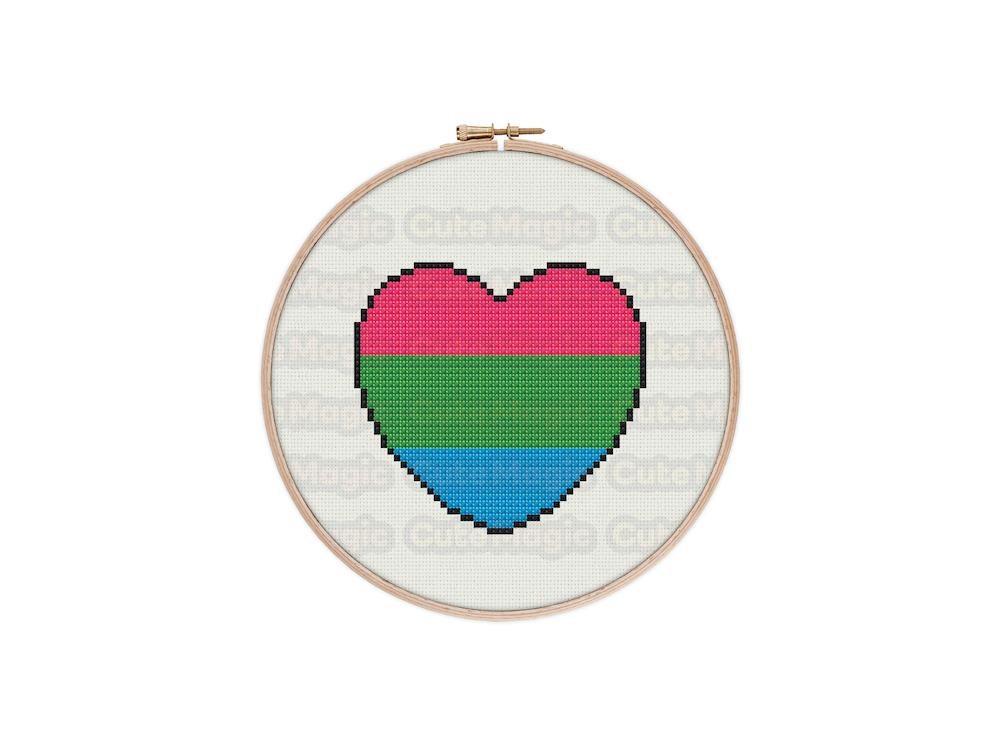 Polysexual Pride Heart Digital Cross Stitch Pattern