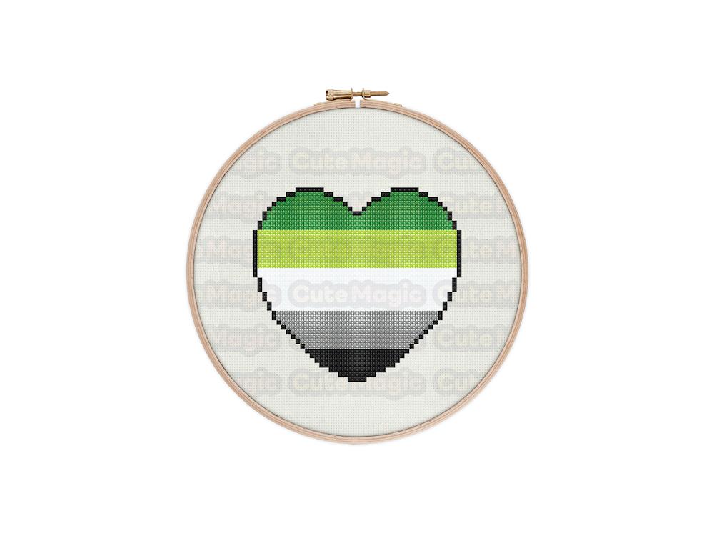 Aromantic Pride Heart Digital Cross Stitch Pattern