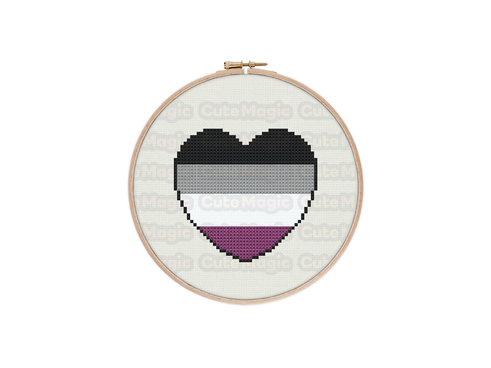 Asexual Pride Heart Digital Cross Stitch Pattern