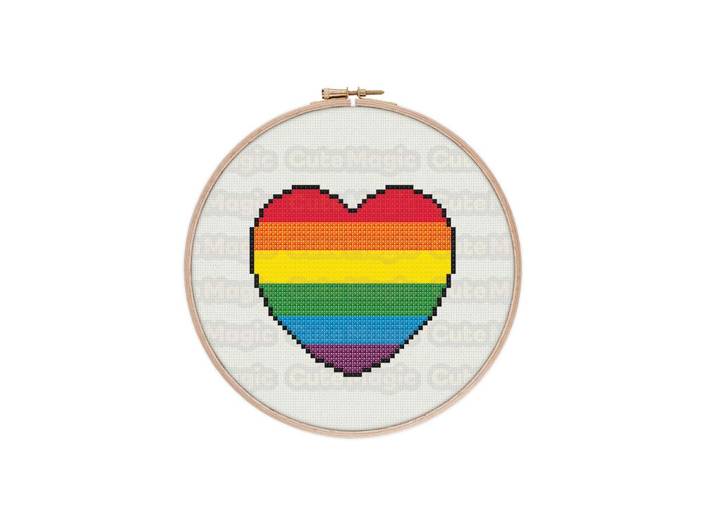Rainbow Pride Heart Digital Cross Stitch Pattern