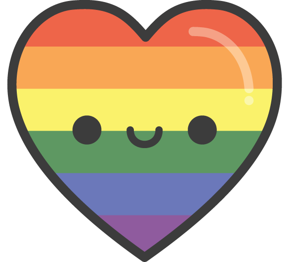 Cute Kawaii Rainbow Pride Heart