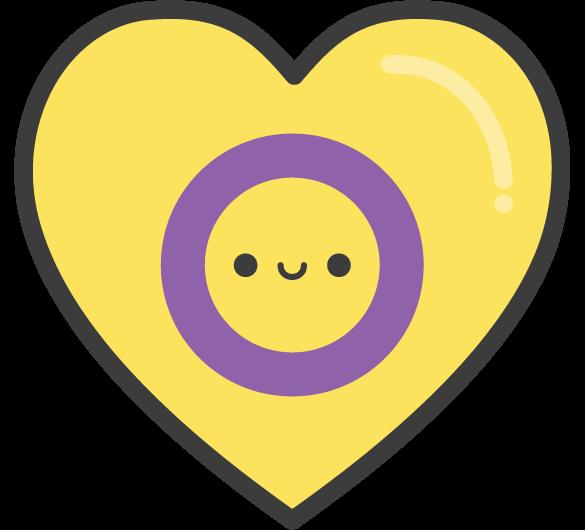 Cute Kawaii Intersex Pride Heart