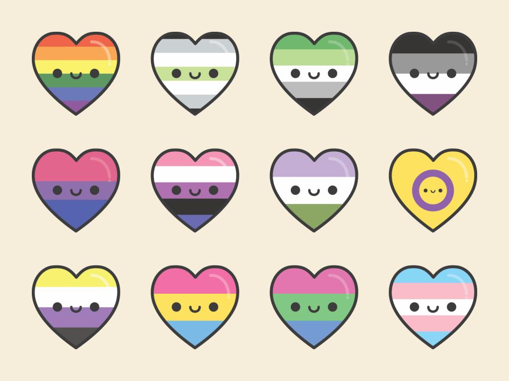 Cute Kawaii Pride Hearts