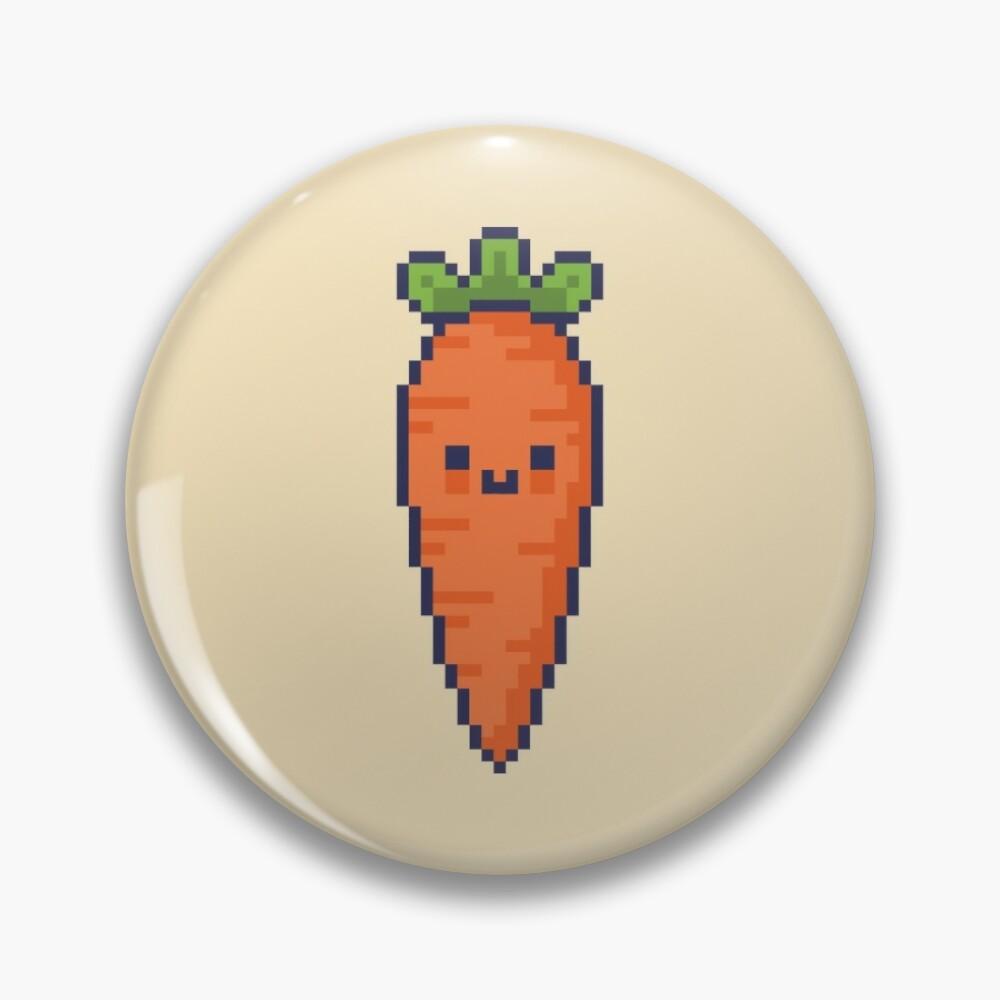 Cute Kawaii Pixel Carrot Pin Button Badge