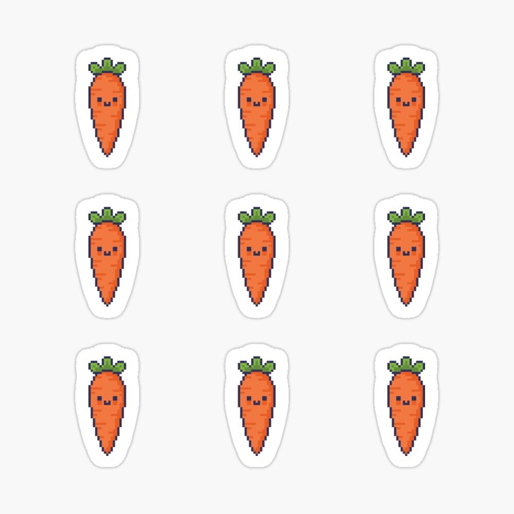 Cute Kawaii Pixel Carrot Stickers