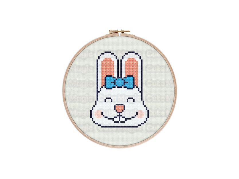 Cute Kawaii Bunny Face Digital Cross Stitch Pattern