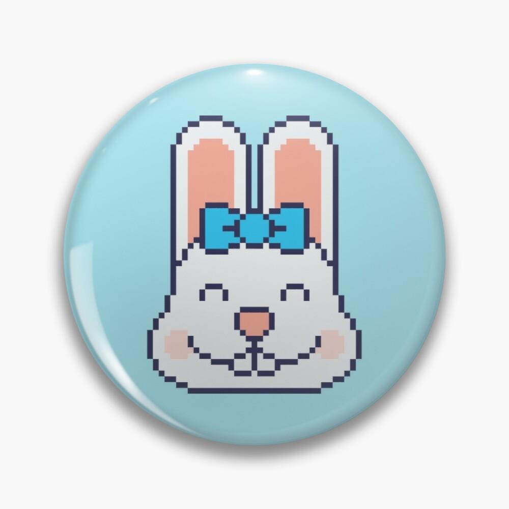 Cute Kawaii Pixel Bunny Face Pin Button Badge