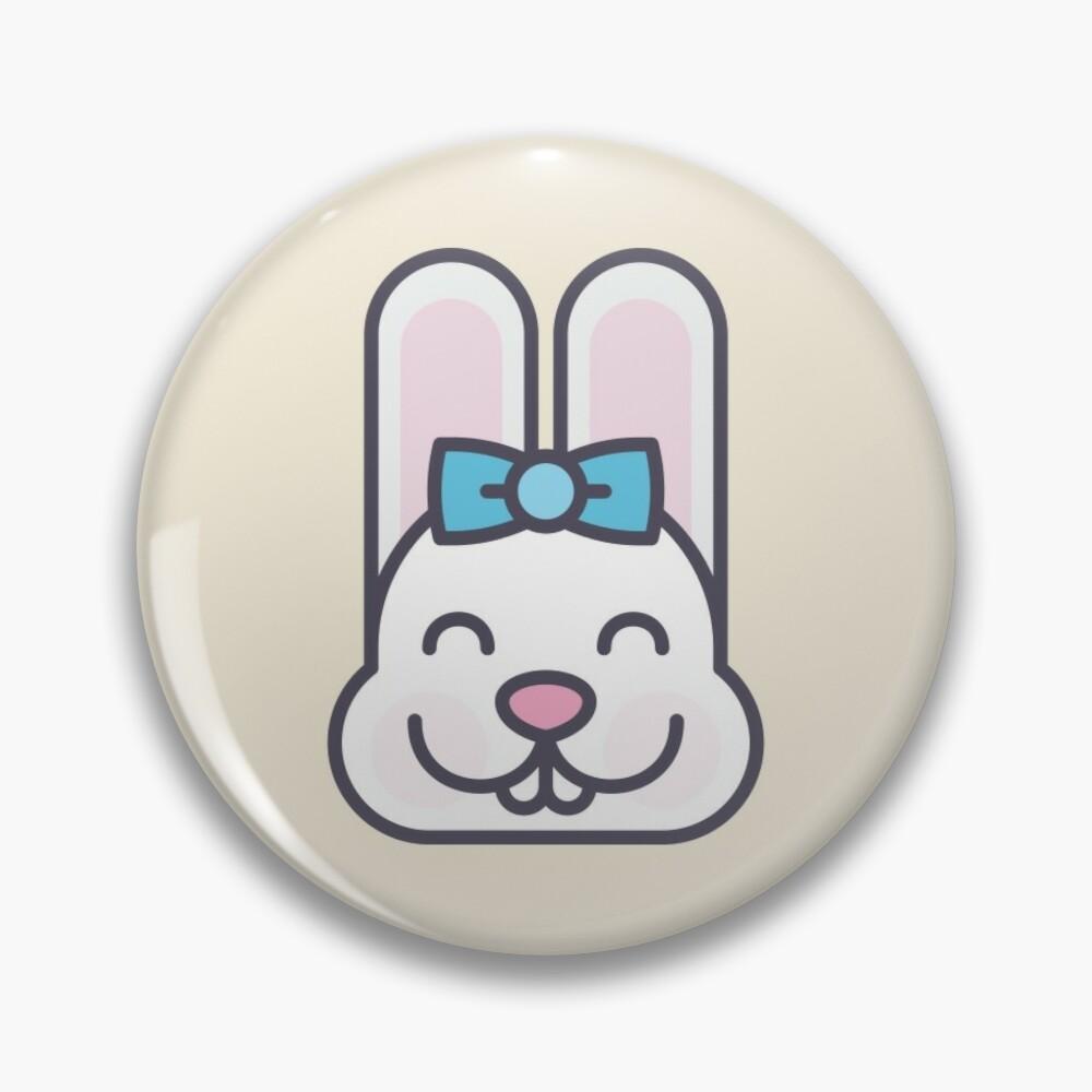 Cute Kawaii Bunny Face Pin Badge Button