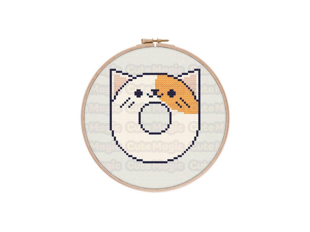 Cute Kawaii Cat Donut Cross Stitch Pattern