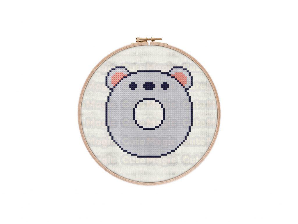 Cute Kawaii Mouse Donut Cross Stitch Pattern